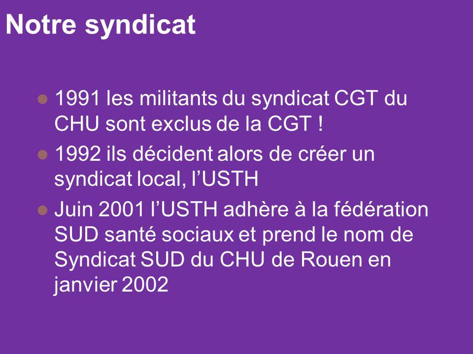 Notre syndicat 1991 les militants du syndicat CGT du CHU sont exclus de la CGT ! 1992 ils décident alors de créer un syndicat local, l'USTH.