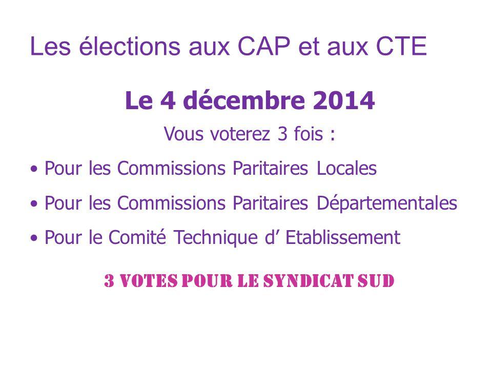 Les élections aux CAP et aux CTE