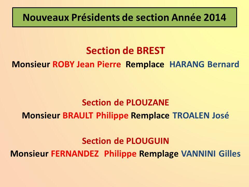 Nouveaux Présidents de section Année 2014