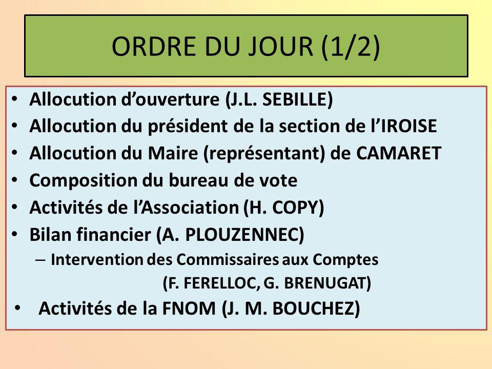 ORDRE DU JOUR (1/2) Allocution d'ouverture (J.L. SEBILLE)