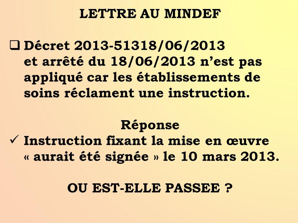 LETTRE AU MINDEF Décret 2013-51318/06/2013 et arrêté du 18/06/2013 n'est pas appliqué car les établissements de soins réclament une instruction.