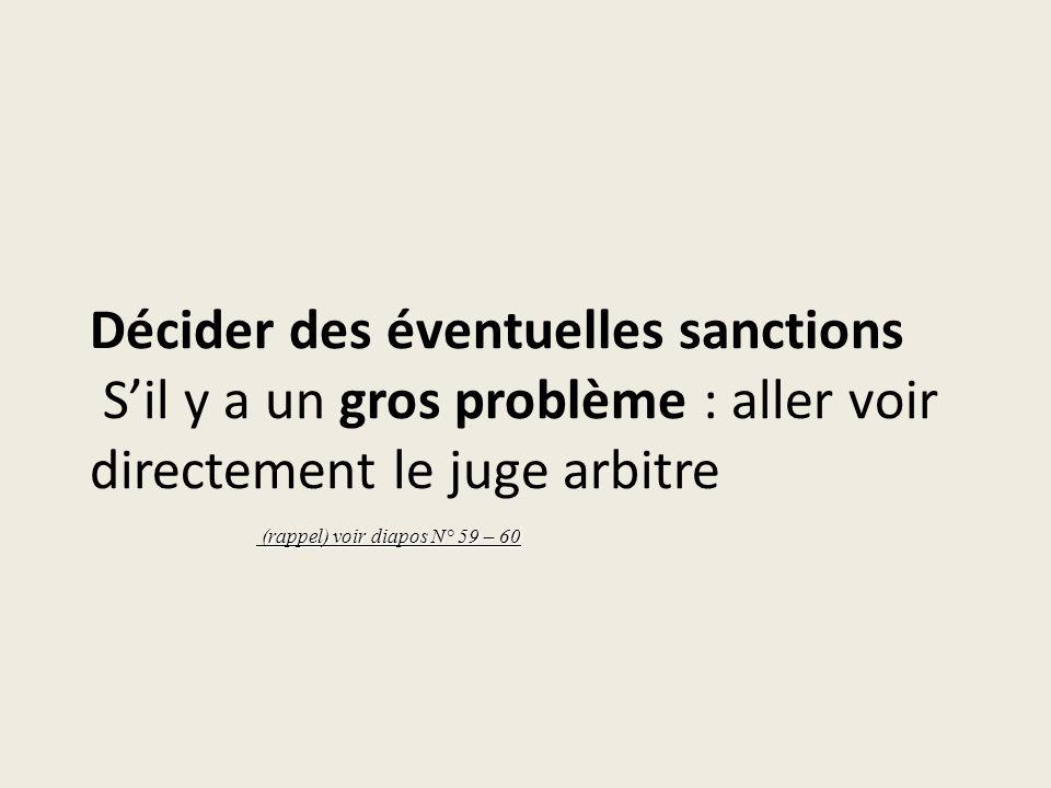Décider des éventuelles sanctions S'il y a un gros problème : aller voir directement le juge arbitre
