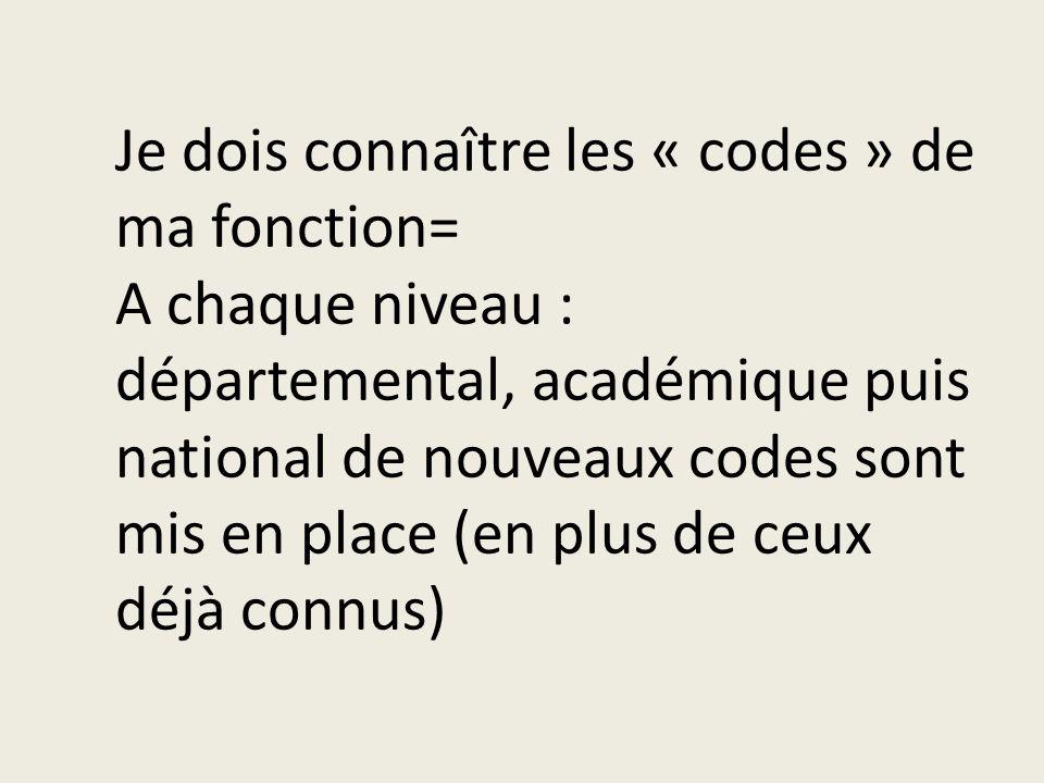 Je dois connaître les « codes » de ma fonction= A chaque niveau : départemental, académique puis national de nouveaux codes sont mis en place (en plus de ceux déjà connus)