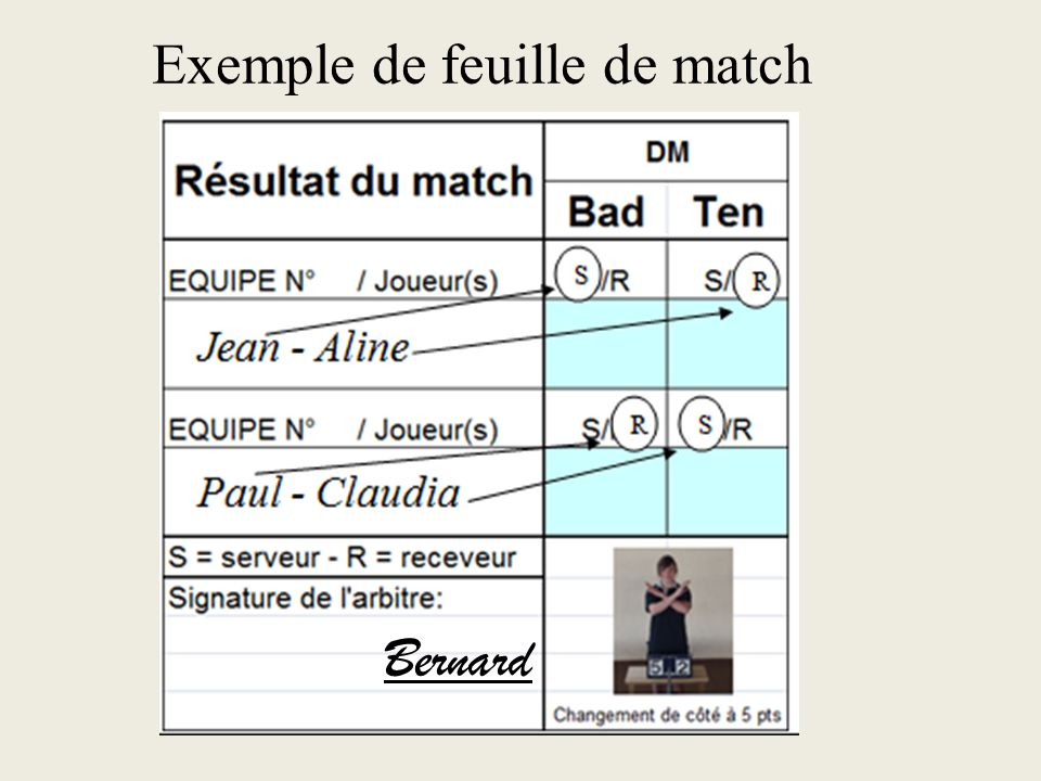 Exemple de feuille de match
