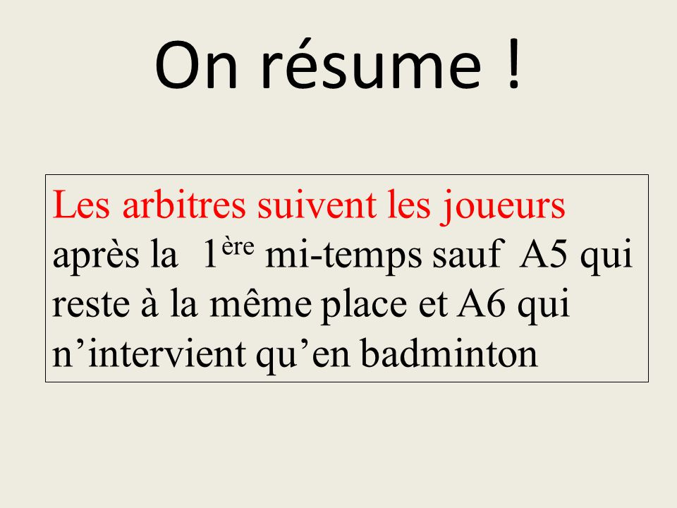 On résume .