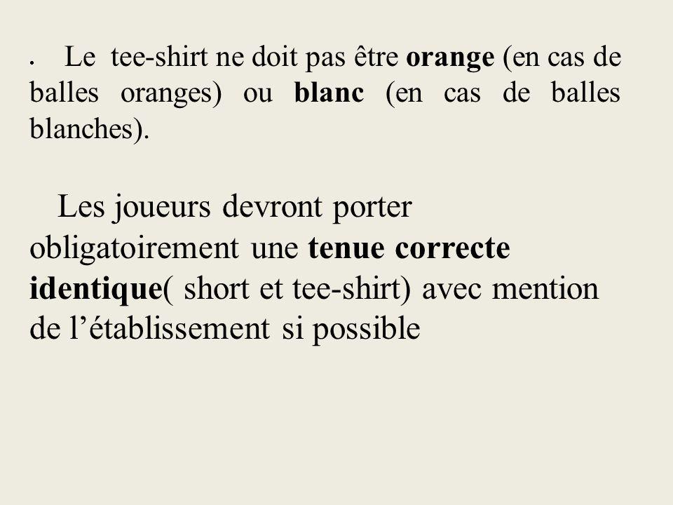 · Le tee-shirt ne doit pas être orange (en cas de balles oranges) ou blanc (en cas de balles blanches).
