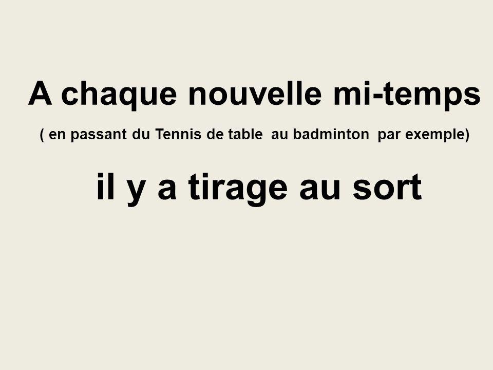 A chaque nouvelle mi-temps ( en passant du Tennis de table au badminton par exemple) il y a tirage au sort