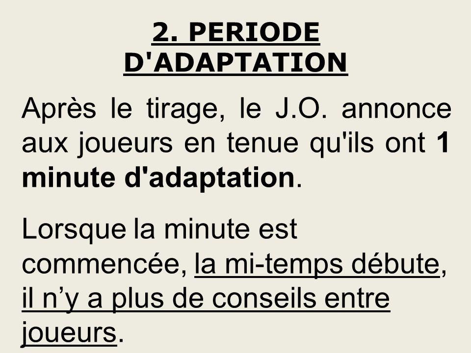 2. PERIODE D ADAPTATION Après le tirage, le J.O. annonce aux joueurs en tenue qu ils ont 1 minute d adaptation.