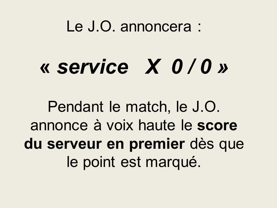 Le J. O. annoncera : « service X 0 / 0 » Pendant le match, le J. O