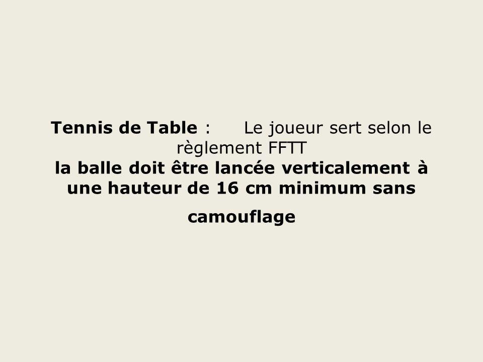 Tennis de Table : Le joueur sert selon le règlement FFTT la balle doit être lancée verticalement à une hauteur de 16 cm minimum sans camouflage
