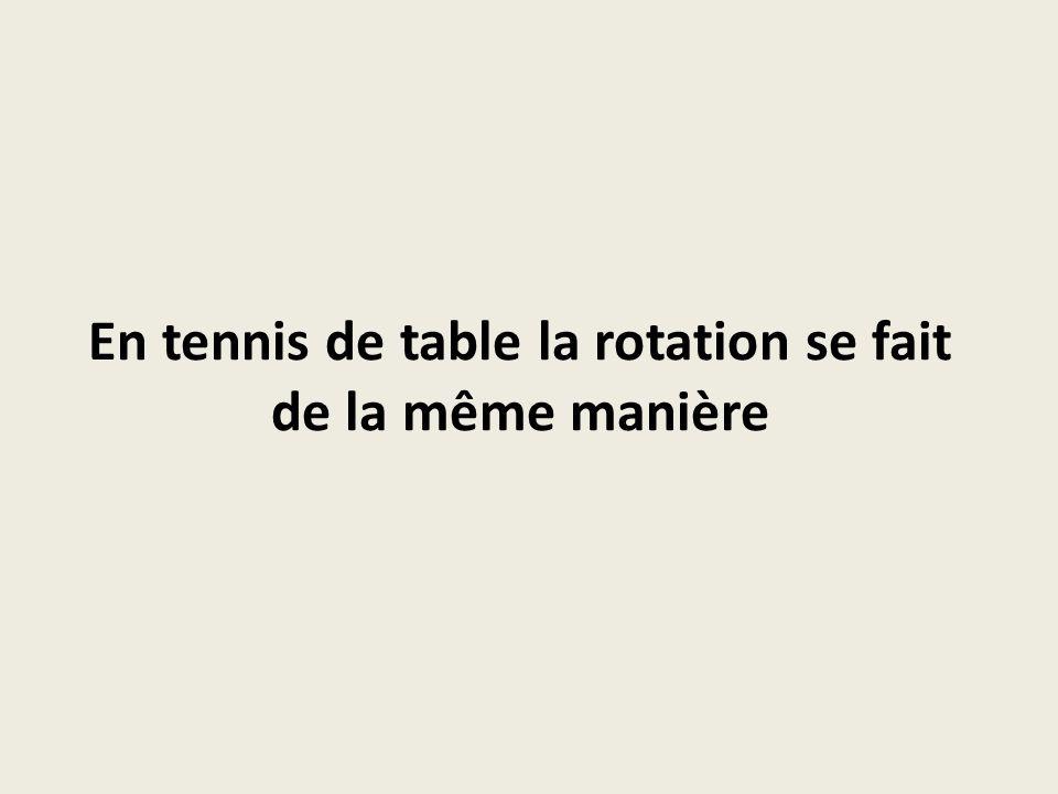 En tennis de table la rotation se fait de la même manière