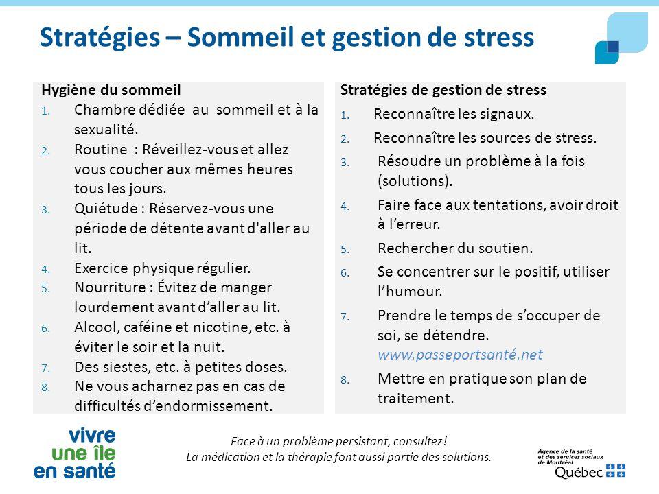 Stratégies – Sommeil et gestion de stress