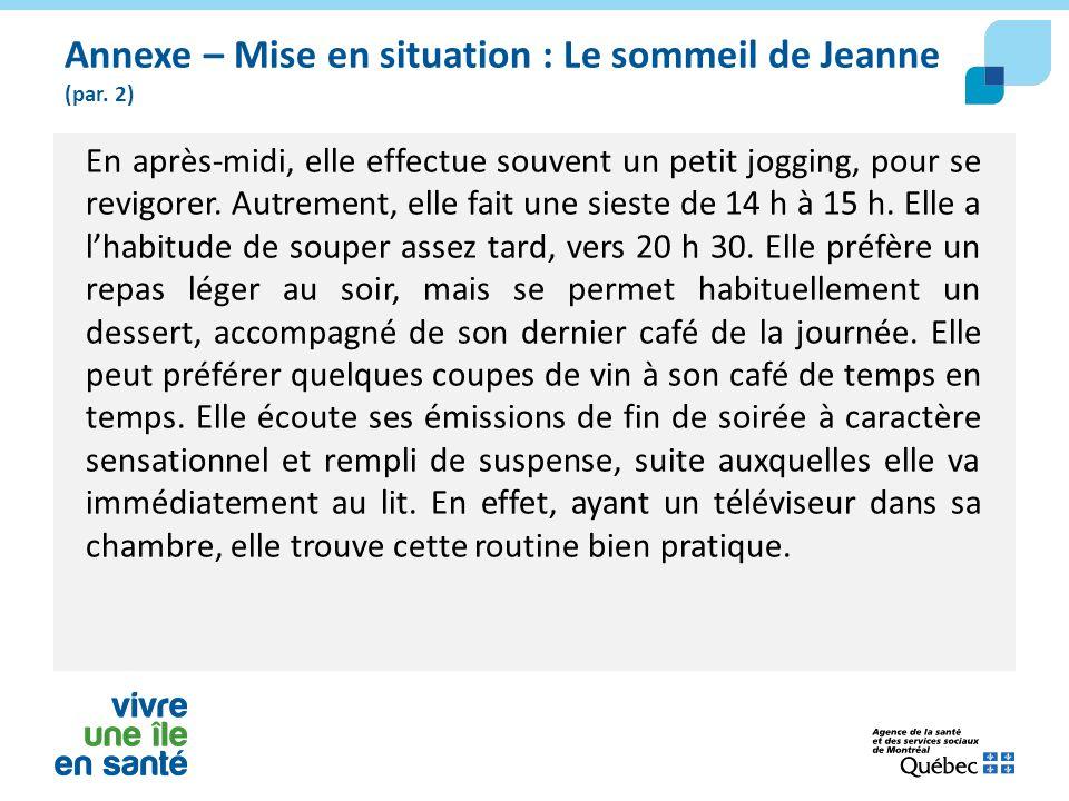 Annexe – Mise en situation : Le sommeil de Jeanne (par. 2)
