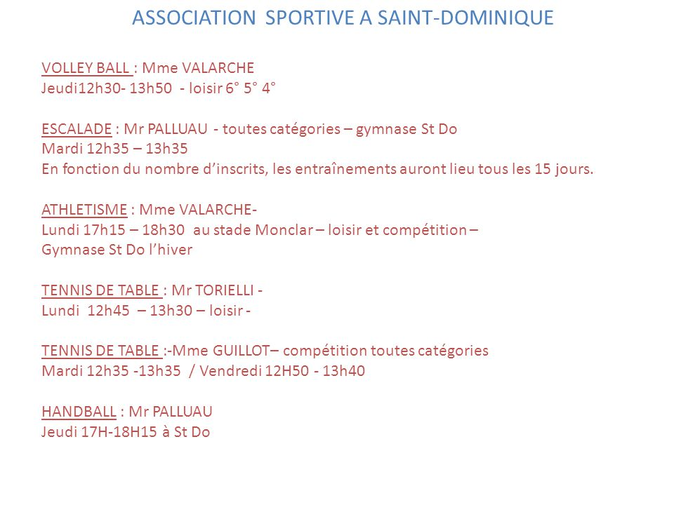 ASSOCIATION SPORTIVE A SAINT-DOMINIQUE
