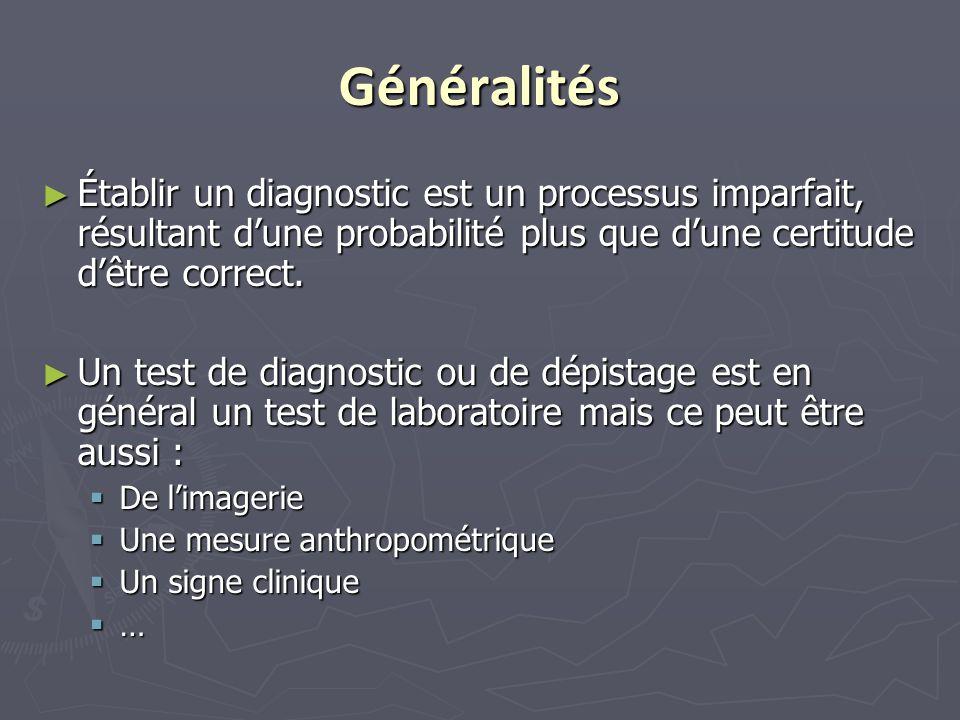 Généralités Établir un diagnostic est un processus imparfait, résultant d'une probabilité plus que d'une certitude d'être correct.