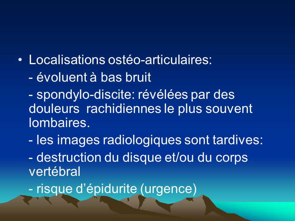 Localisations ostéo-articulaires: