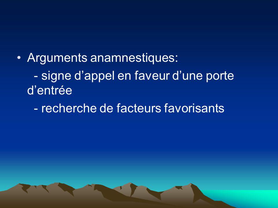 Arguments anamnestiques: