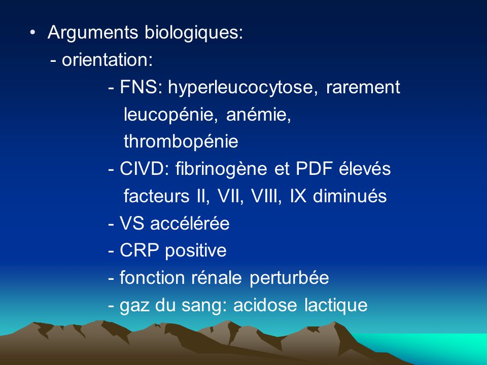 Arguments biologiques: