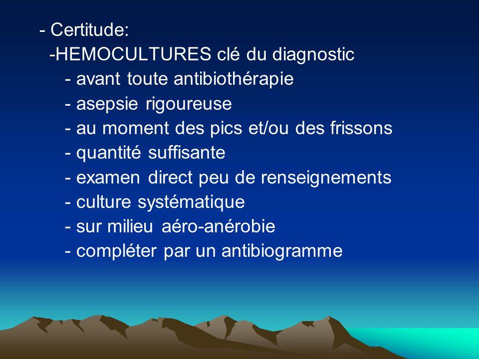 - Certitude: -HEMOCULTURES clé du diagnostic. - avant toute antibiothérapie. - asepsie rigoureuse.