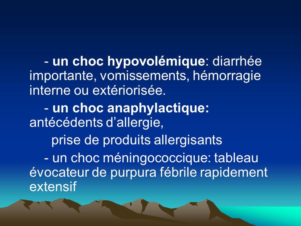 - un choc hypovolémique: diarrhée importante, vomissements, hémorragie interne ou extériorisée.