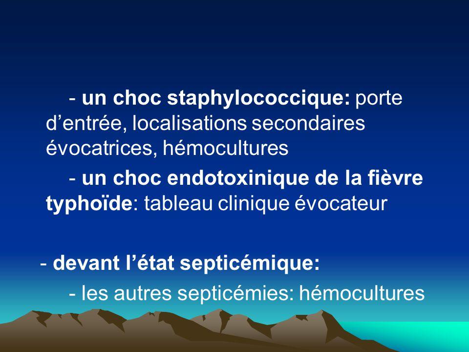- un choc staphylococcique: porte d'entrée, localisations secondaires évocatrices, hémocultures