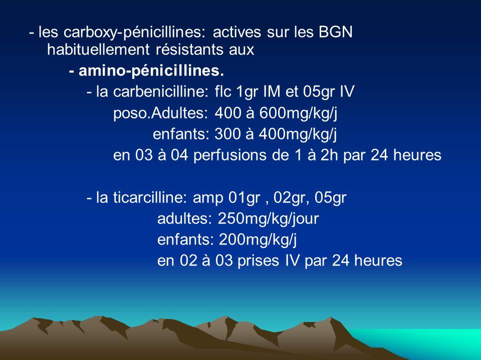 - les carboxy-pénicillines: actives sur les BGN habituellement résistants aux