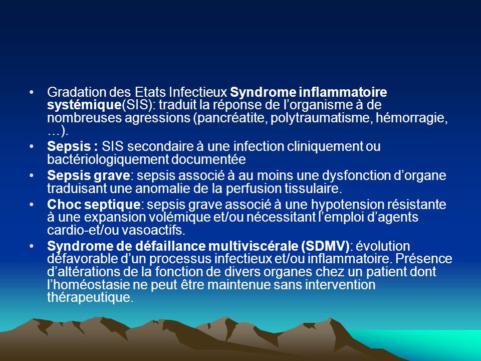 Gradation des Etats Infectieux Syndrome inflammatoire systémique(SIS): traduit la réponse de l'organisme à de nombreuses agressions (pancréatite, polytraumatisme, hémorragie, …).