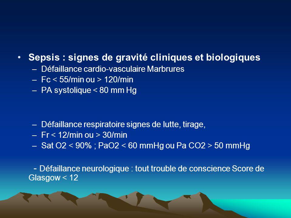 Sepsis : signes de gravité cliniques et biologiques