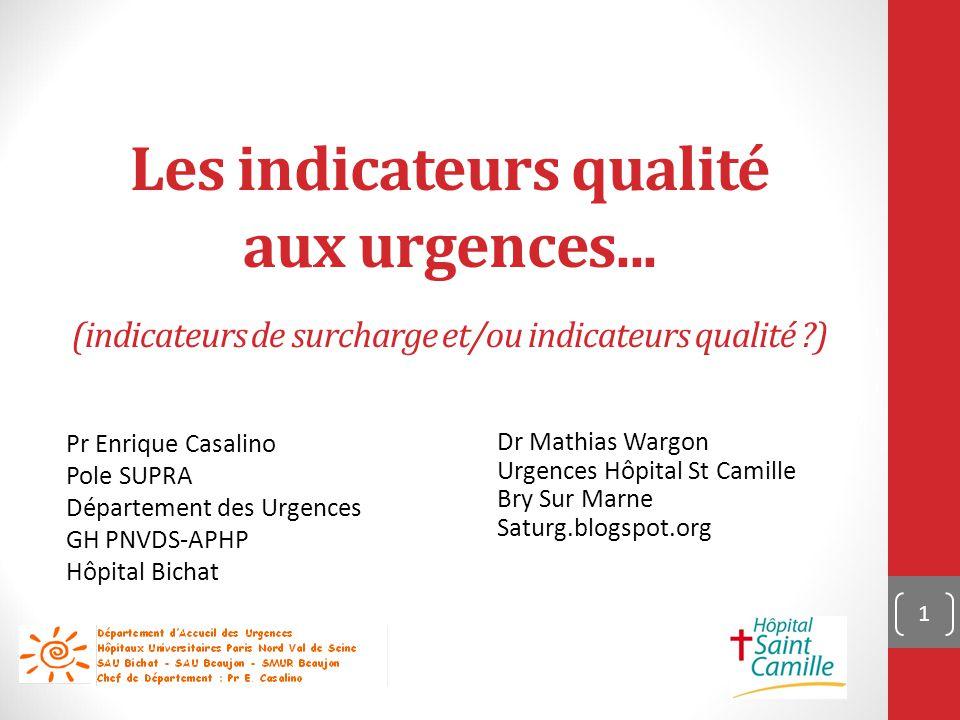 Les indicateurs qualité aux urgences