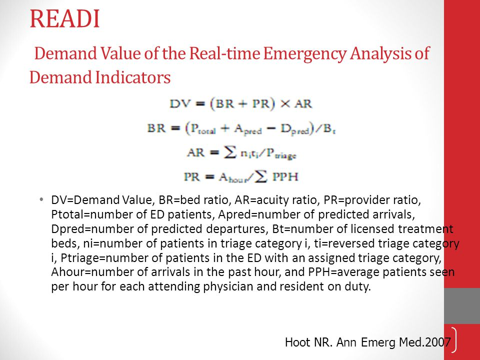 READI Demand Value of the Real-time Emergency Analysis of Demand Indicators