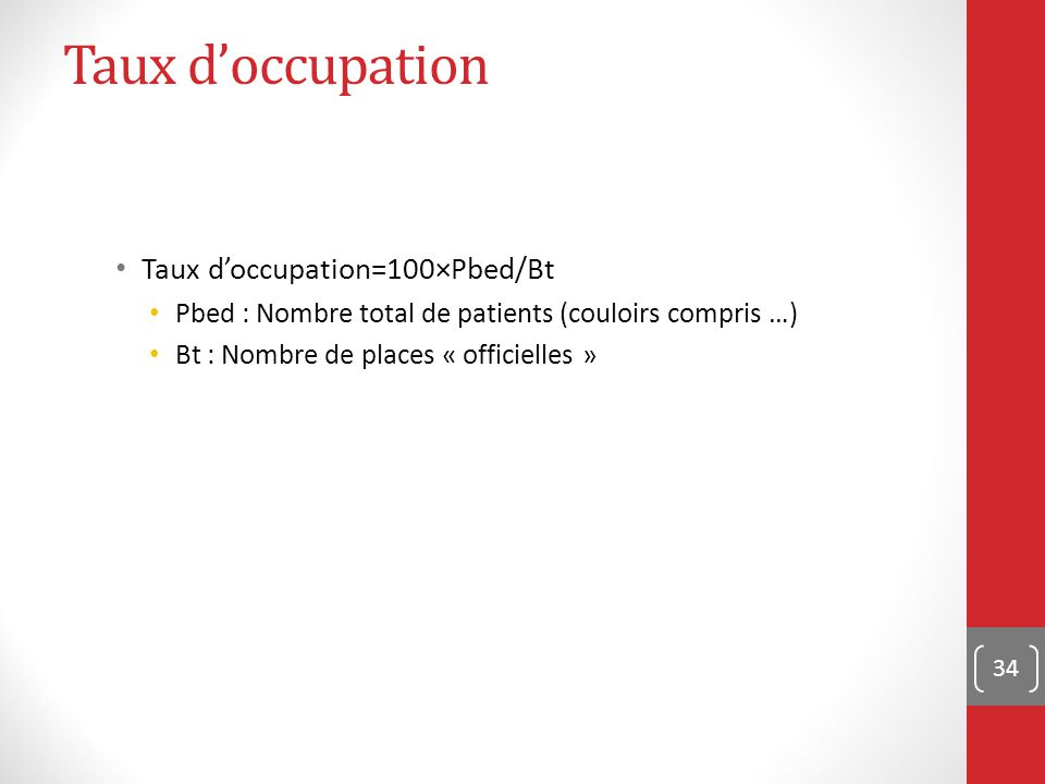Taux d'occupation Taux d'occupation=100×Pbed/Bt