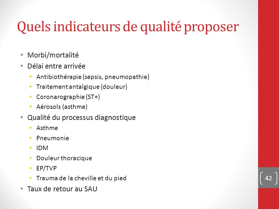Quels indicateurs de qualité proposer