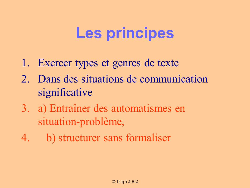 Les principes Exercer types et genres de texte
