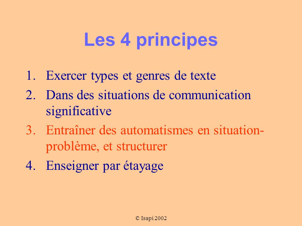 Les 4 principes Exercer types et genres de texte
