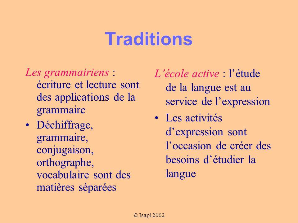 Traditions Les grammairiens : écriture et lecture sont des applications de la grammaire.