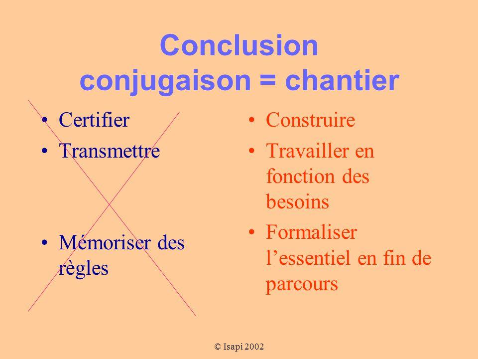 Conclusion conjugaison = chantier