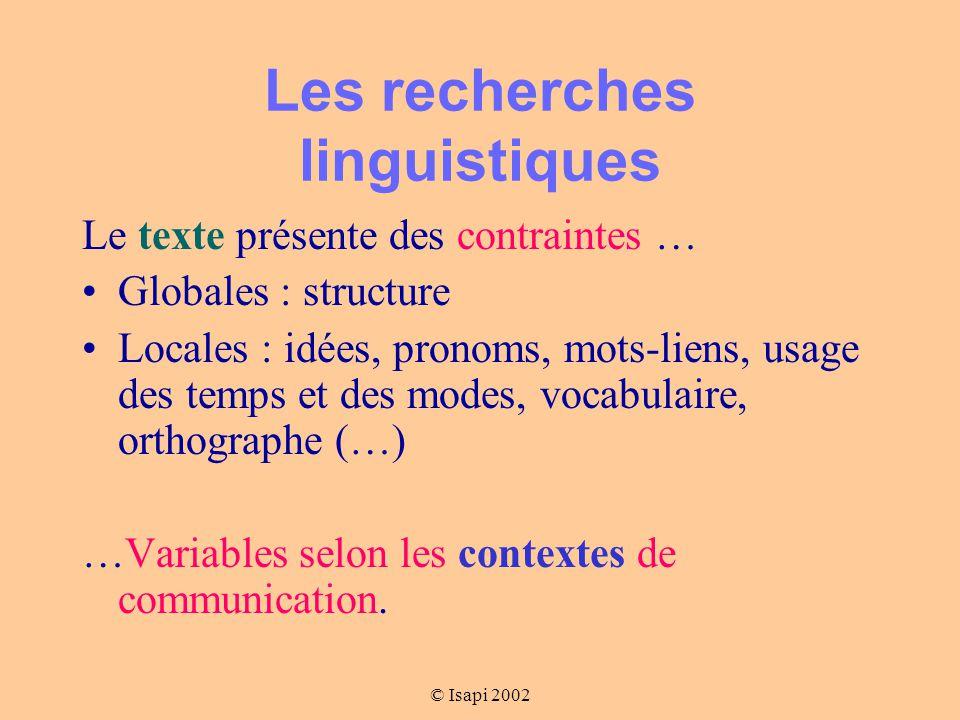 Les recherches linguistiques