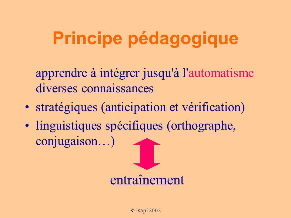 Principe pédagogique apprendre à intégrer jusqu à l automatisme diverses connaissances. stratégiques (anticipation et vérification)