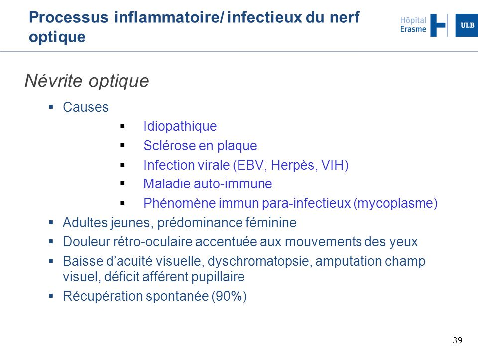 Processus inflammatoire/ infectieux du nerf optique