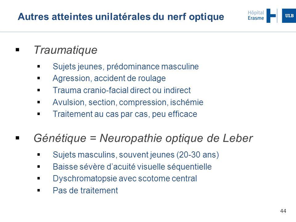 Autres atteintes unilatérales du nerf optique