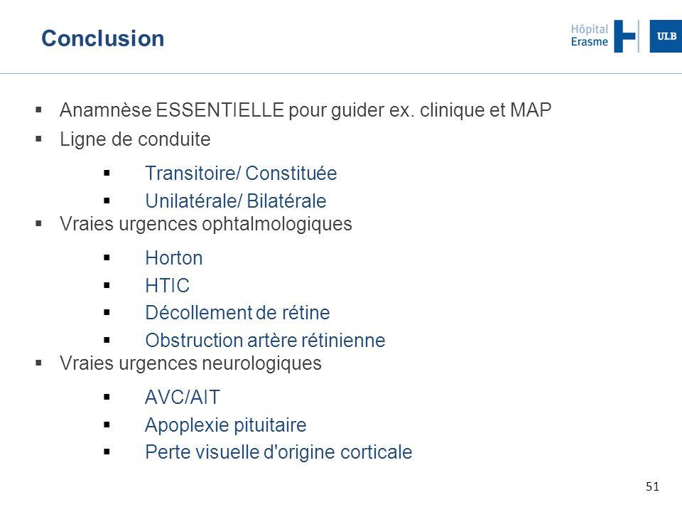 Conclusion Anamnèse ESSENTIELLE pour guider ex. clinique et MAP