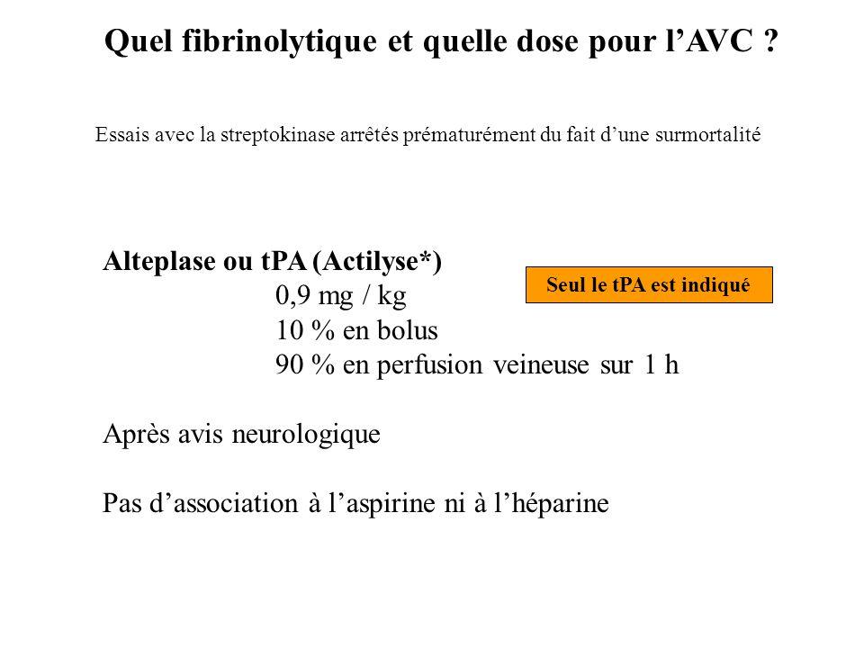 Quel fibrinolytique et quelle dose pour l'AVC