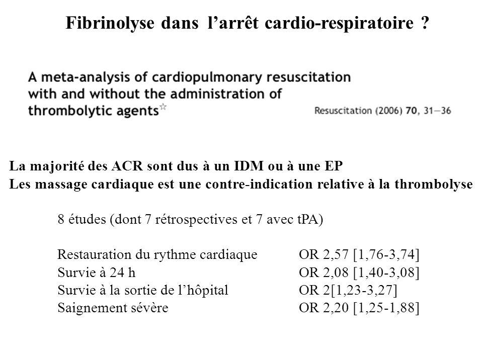 Fibrinolyse dans l'arrêt cardio-respiratoire