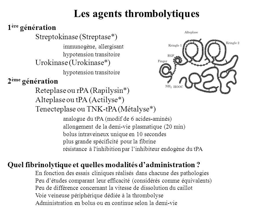 Les agents thrombolytiques