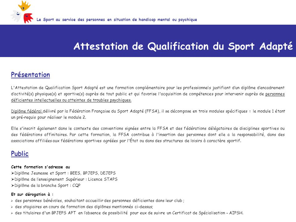 Attestation de Qualification du Sport Adapté