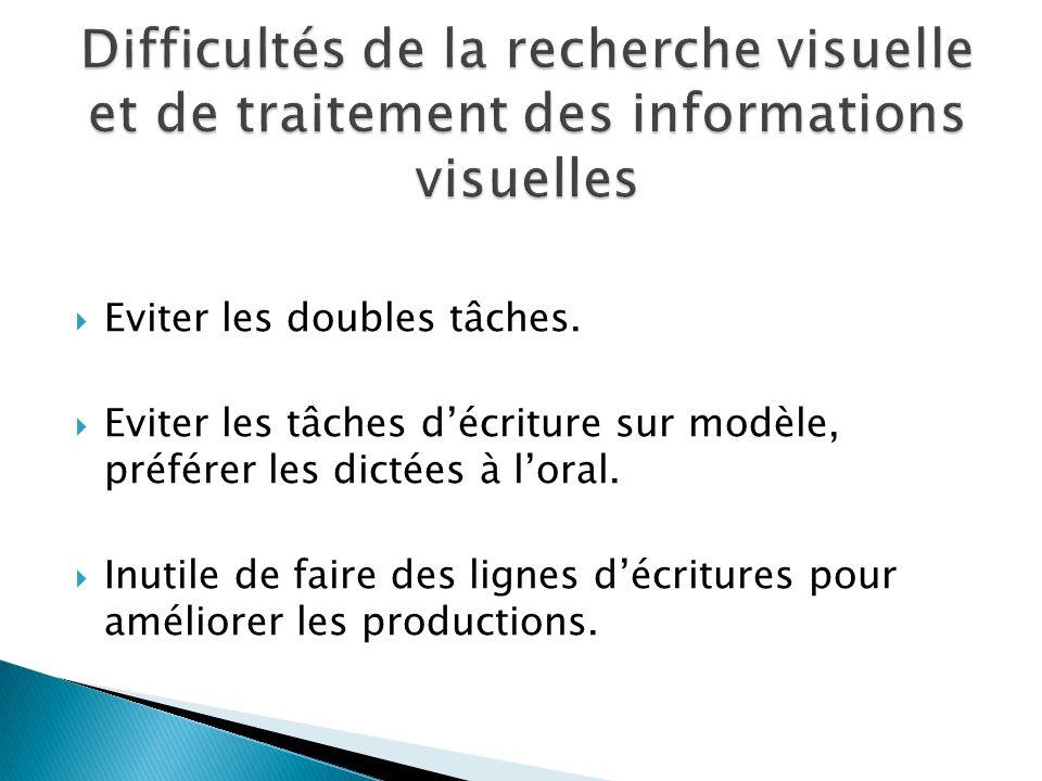 Difficultés de la recherche visuelle et de traitement des informations visuelles