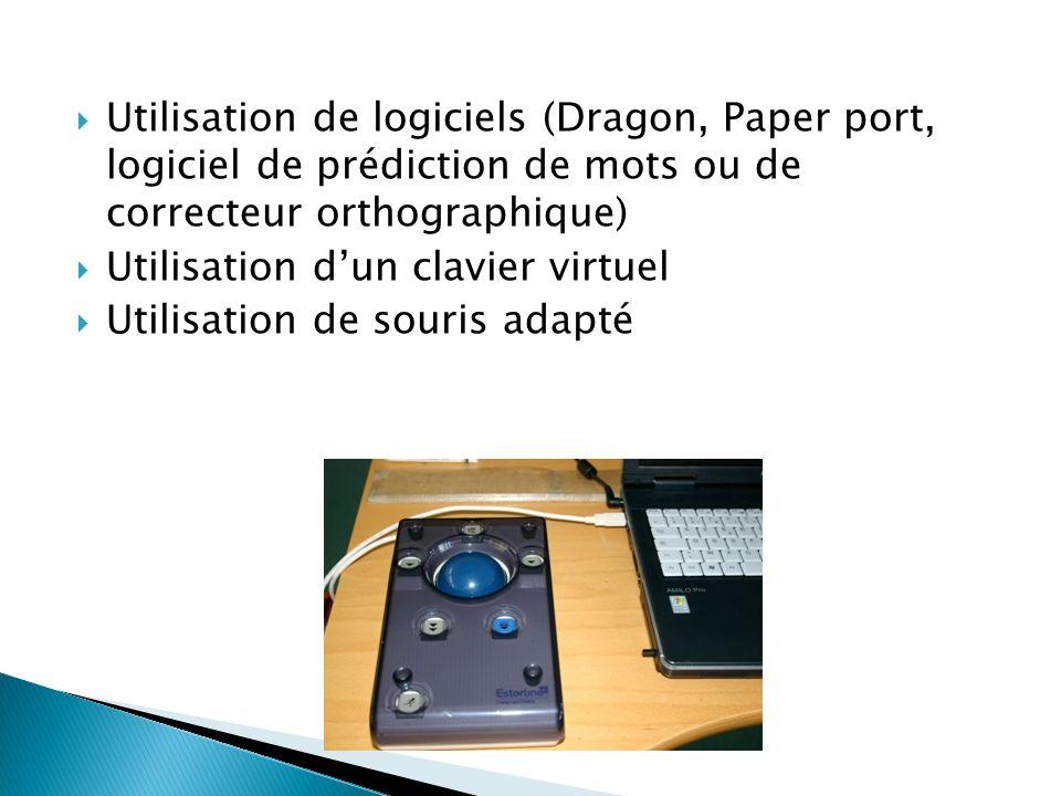 Utilisation de logiciels (Dragon, Paper port, logiciel de prédiction de mots ou de correcteur orthographique)