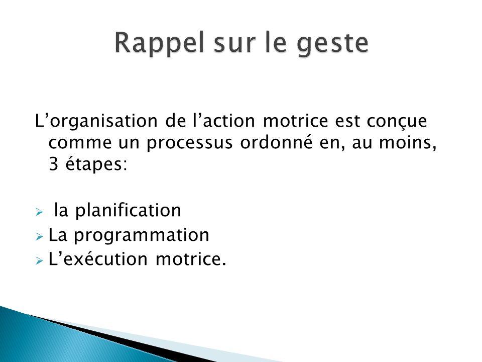 Rappel sur le geste L'organisation de l'action motrice est conçue comme un processus ordonné en, au moins, 3 étapes: