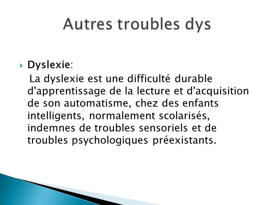 Autres troubles dys Dyslexie: