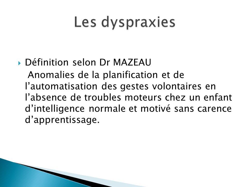Les dyspraxies Définition selon Dr MAZEAU